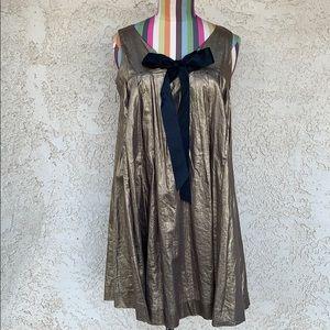 BB Dakota Metallic Bronze Mini Dress with Bow